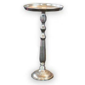 End Table, Pedestal  (Silver) 14 x 14 x 26