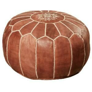 Seating, Leather Moroccan Pouf 20