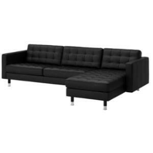 Grouping, Headliner Collection (Black Leather) - Sofa + Chaise (Black)