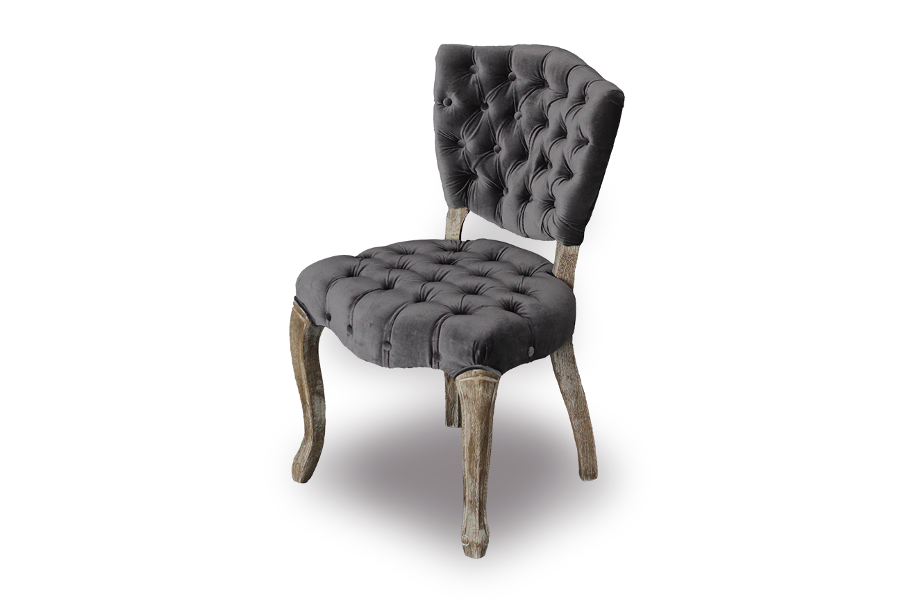 Chair, Lane Tufted Dining (Dark Grey) 20 x 22 x 33