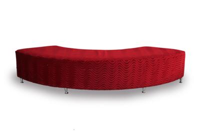 Seating, Wavy Semi-Circle Ottoman (Red)