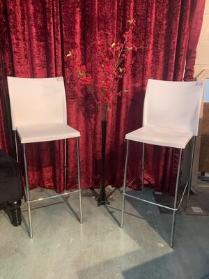 Chair, White Bar Stool Set 2 pieces