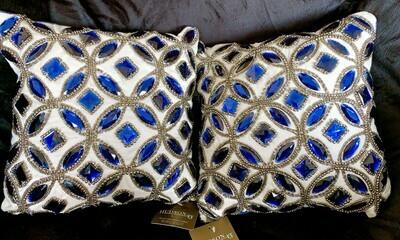 Hudson43 Hand Embellished Pillow Blue