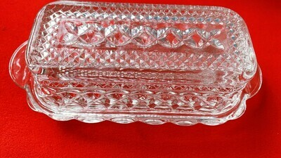 Anchor Hocking Wexford Cut Glass Covered Butter Dish