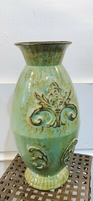 "Green Tin Vase 15.5"""