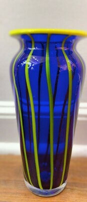 "Cobalt Blue Yellow Stripe Vase 10"""