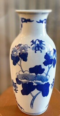 """Blue and White Asian Flowers Ceramic Wall Pocket Vase 11"""" x 5 1/2"""""""