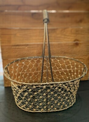 """Beaded Wire Basket - 9"""" x 11 to handle top"""