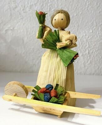 Vintage Corn Husk Doll with Cart
