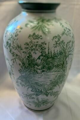 """Vintage Chinese Peony Porcelain Vase 10"""""""