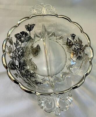 """Vintage Silver Overlay Glass Divided Bowl w/Handles 6"""""""