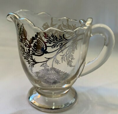 """Vintage Silver Overlay Glass Footed Creamer 4 x 3 1/2"""""""