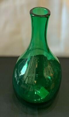 """Vintage Hand Blown Green Vase 9"""""""