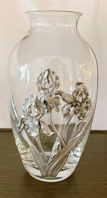 "Seagull 1992 Glass and Pewter Iris Design Vase 8"""