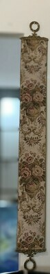 Vintage Corona Décor Servants Bell Pull Tapestry Wall Hanging Brass End Floral