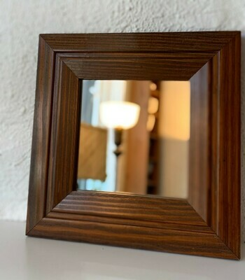 """Wood Framed Square Mirror 11 1/2"""""""