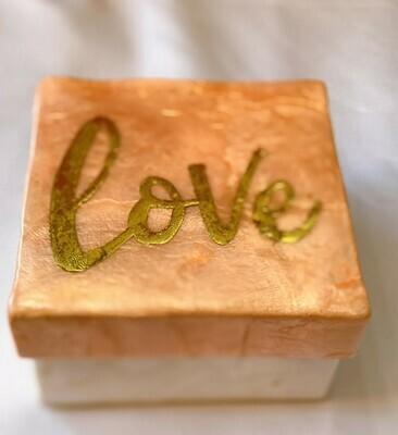 "LOVE Capiz Box 3"" (Gold/Pink)"