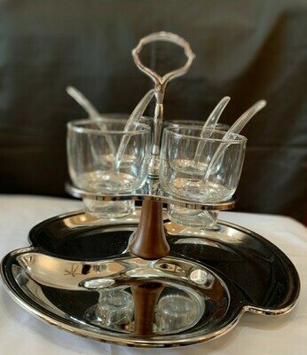 Retro Chrome Plated Bar Set Carrier Party Relish Tray