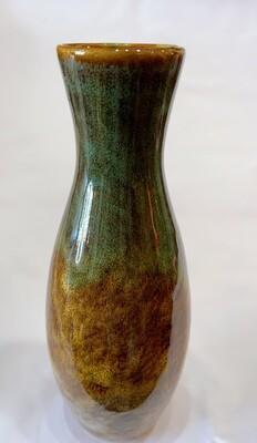 "Ceramic Vase Greens Browns Marbled 8"""