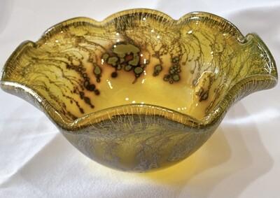 """Robert Coleman Signed Hand Blown Gold Iridescent Glass Waffle Rim Bowl 2009 5 3/4""""d x 2 1/2""""h"""