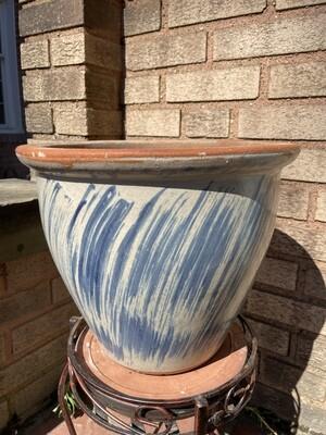 White/Blue Large Ceramic Planter