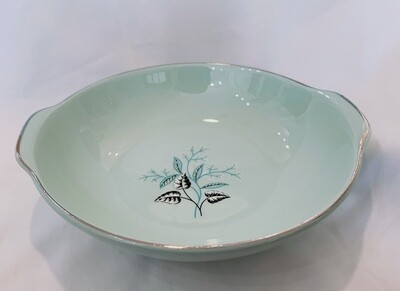Vintage Universal Pottery China Ballerina Mist 3-Lugged Green Soup Bowls Leaves