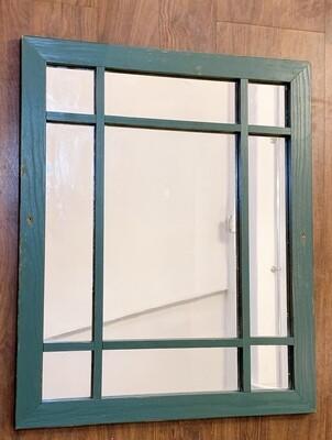 "Hand Painted Window Mirror green 22 1/2""h x 18 1/2""w"