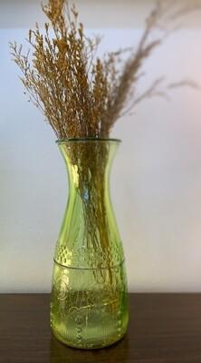 """Green Vintage Glass Blenko-like Vase & stems 10"""""""