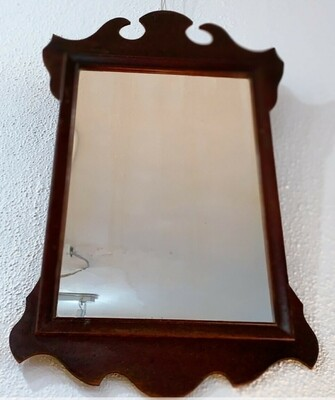 Rectangle Dark Wood Mirror Wall Hanging