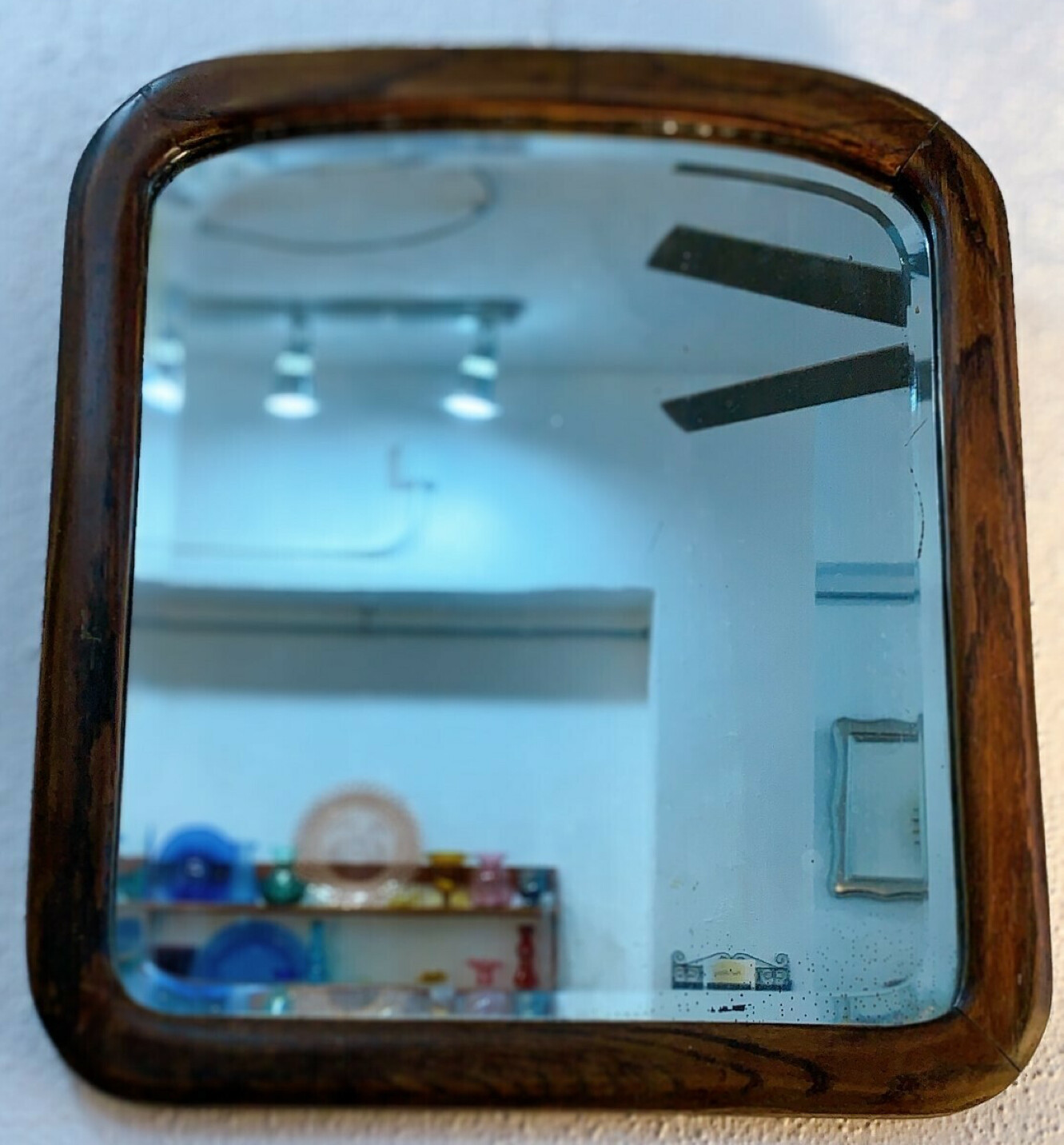 Curve Top Square Wood Mirror Wall Hanging