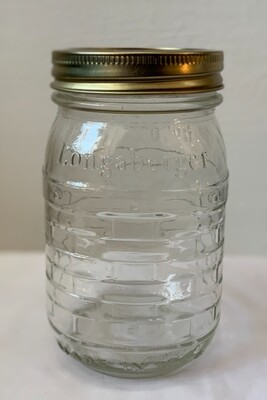 Longaberger Glass  Jar with Lid Blue Ribbon Collection Made in The Usa