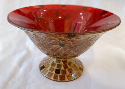 """Red Glass Mosaic Footed Bowl 8 1/4""""d x 5"""" h"""