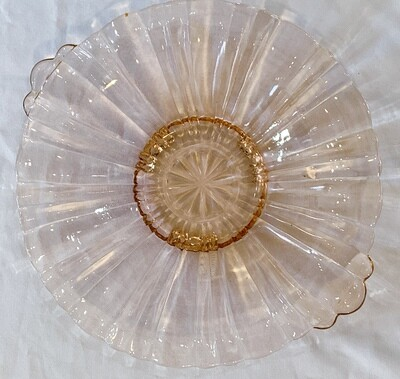 """Anchor Hocking Old Cafe Pink Depression Glass Dish w/Handles (1930- 1940) 8"""""""