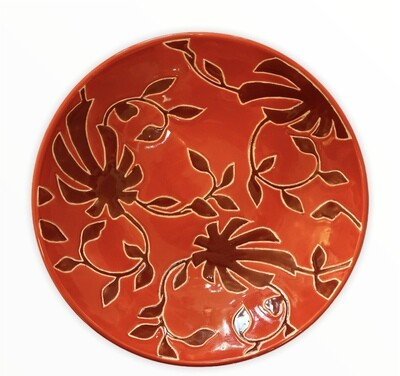 """Red Decorative Bowl 13.75"""""""