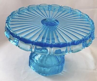 Fostoria Azure Blue Coin Glass Cake Stand Salver