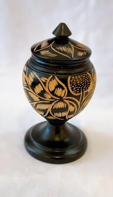 Ethnic Hand Carved Wood Lidded Jar