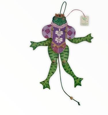 Vintage Terrie Terri Floyd Wood Pull String Frog Prince Toad Toy