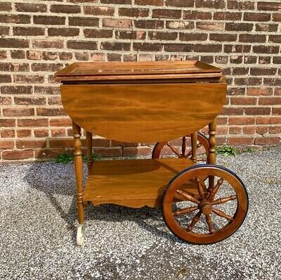"Antique Rolling Drop Leaf Tea/Drinks Cart 29""h x 25""w x 17""d (36""w drop leaf extended)"