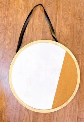 """Round Mirror w/Cork Board and Pleather Strap 19"""""""