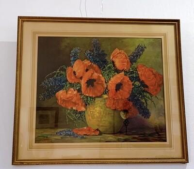 Max Streckenbach Vintage  Rare Print Of Poppies Framed Under Glass