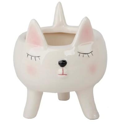 "4"" Cute Pink Girl Cat Ceramic With Legs"