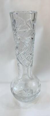 "Antique Crystal Cut Glass Vase 8"""