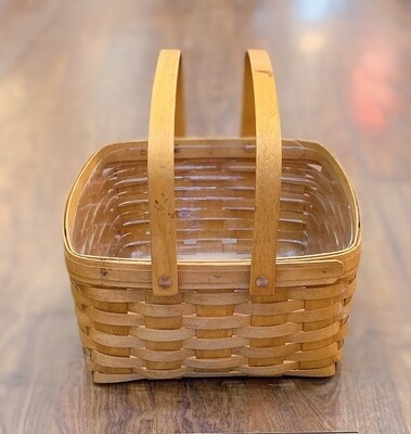 Vintage LONGABERGER Basket Square Picnic Double Handled Handwoven Tote Maple Wood Country Kitchen Farmhouse Decor Country Life