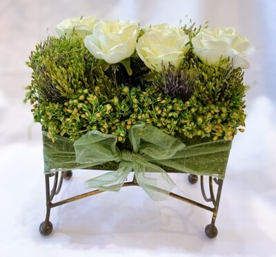 Artificial Flower Square Bouquet with Bow