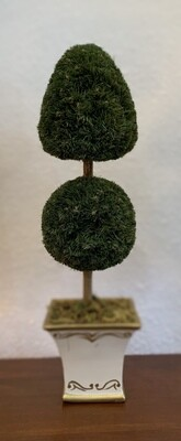 """Faux Topiary 15 """" With White/Gold Planter"""