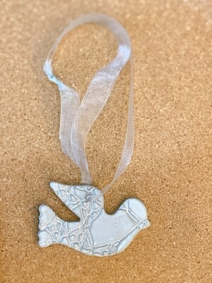 White Painted Bird Ornament