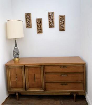 "Vintage Wood Dresser Credenza  62""L  x 18 3/4"" W  x 31""H"