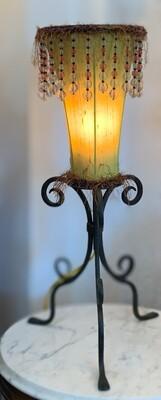 "Vintage Lamp with Beaded Fringe 26.3"""