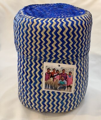 """Globein Nature Tigre Handwoven Blue Basket from Mexico 6"""" d x 6.5"""" tall."""