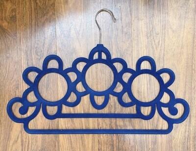 Home Basics Blue Velvet Scarf Hanger with Hooks
